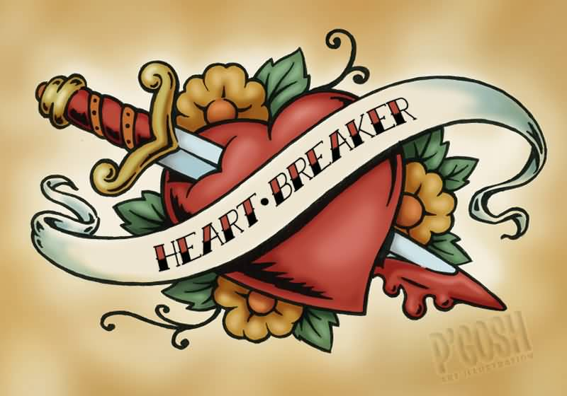 Heart Breaker Banner Nice Dagger In Heart Old School Tattoo Stencil