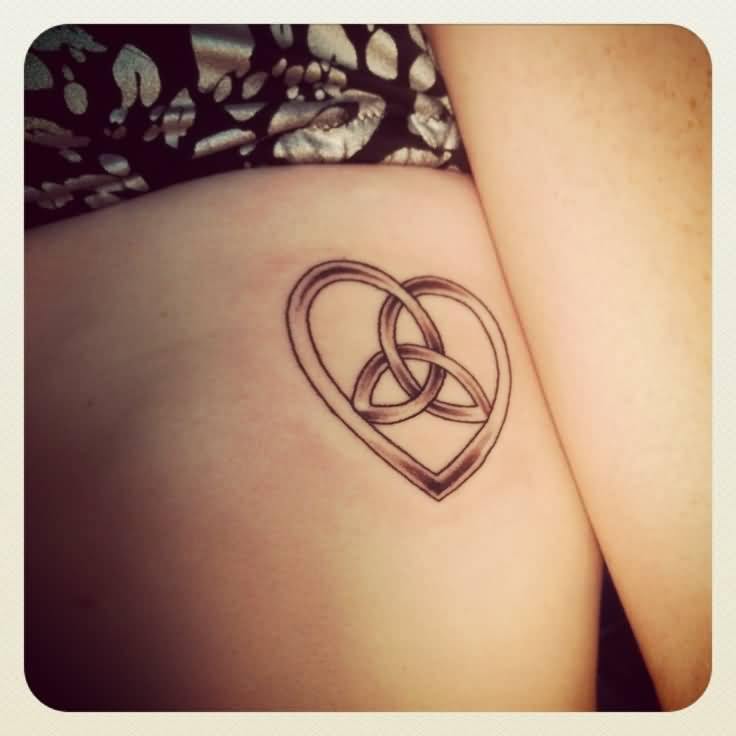 Heart Celtic Knot Tattoo Design For Girl Rib Side