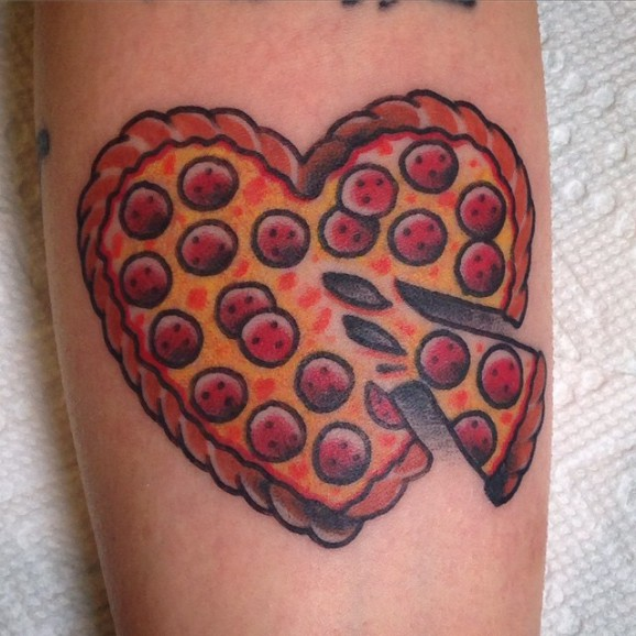 Heart Shape Amazing Pizza Tattoo