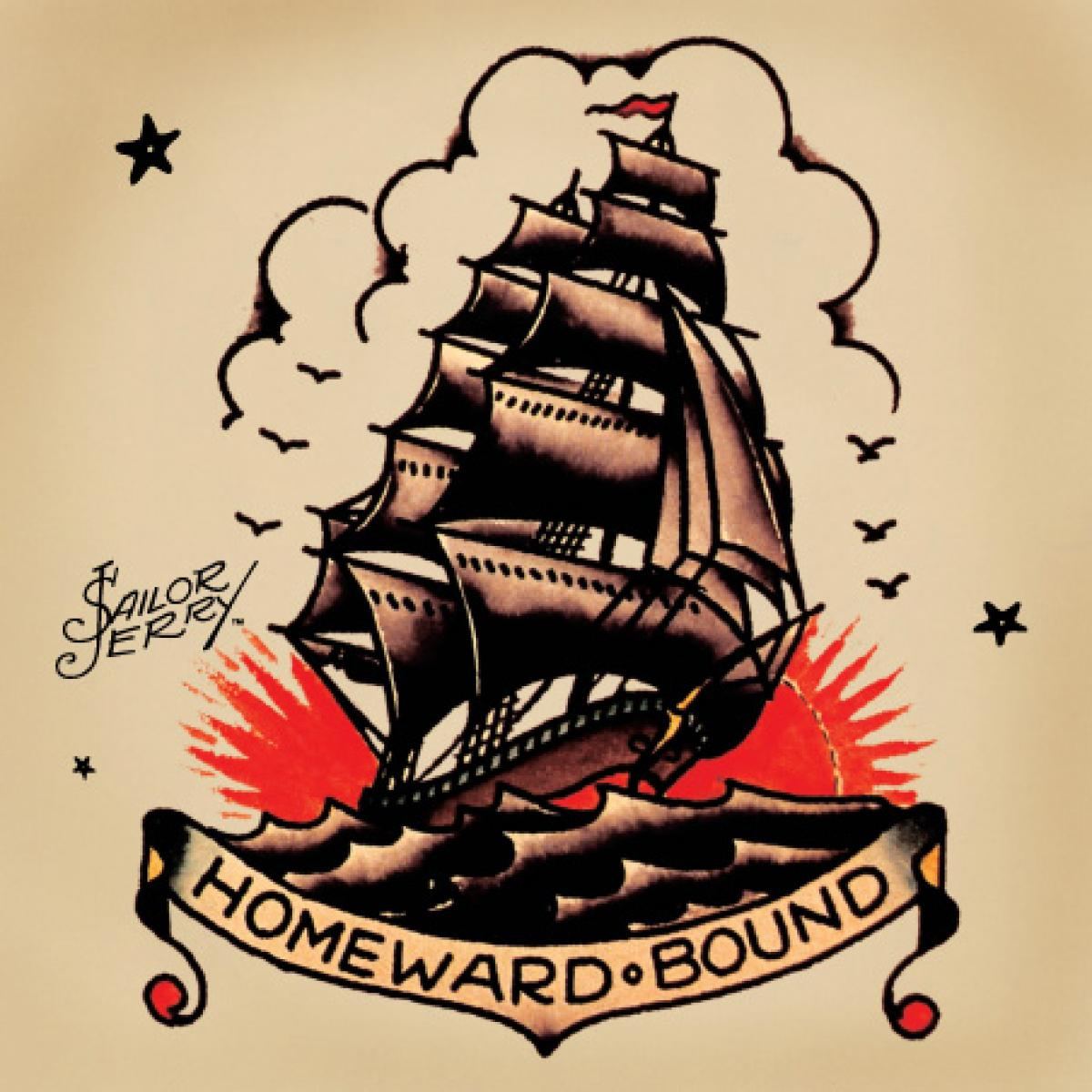 Homeward Bound BAnner Navy Old School Ship Tattoo
