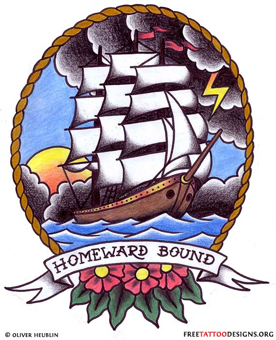 Homeward Bound Banner Nice Old School Pirate Ship Tattoo Stencil