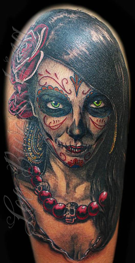 Horrible Catrina Tattoo Of Girl Face