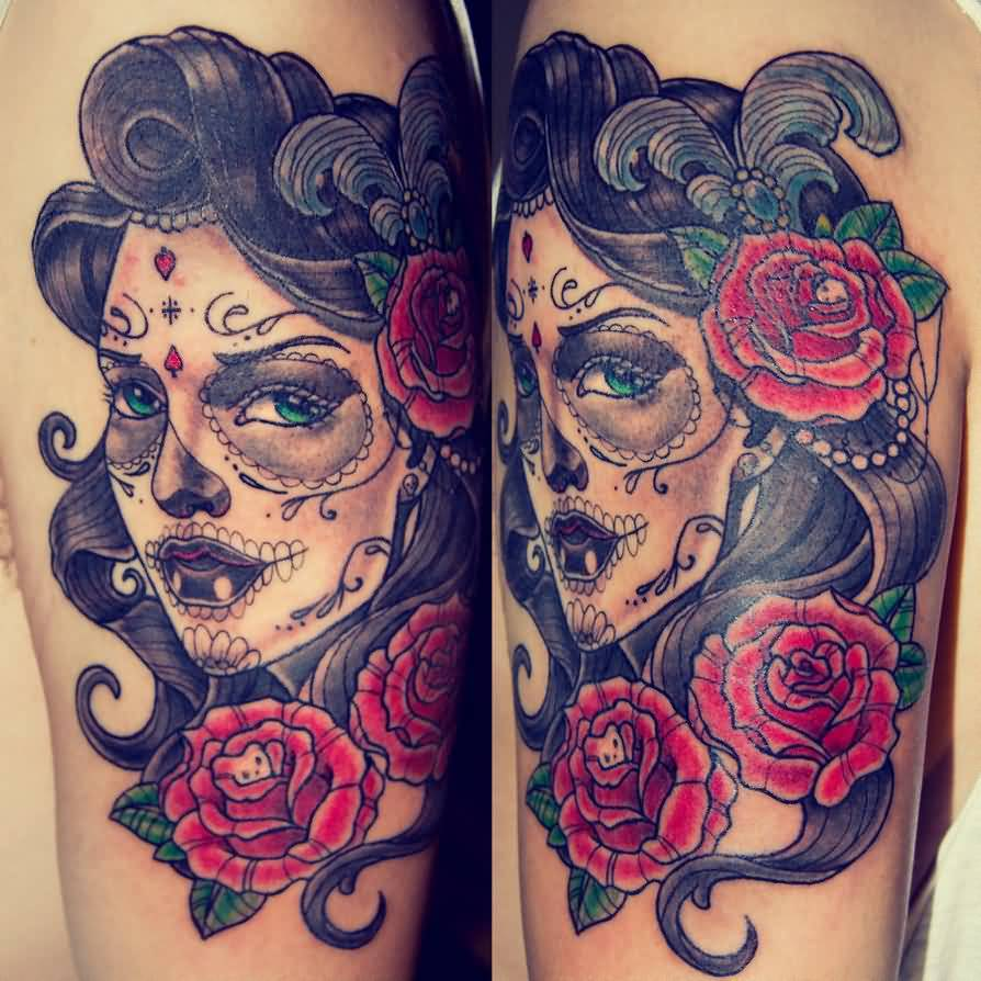 Hot Catrina Face And Flower Tattoo Design Idea