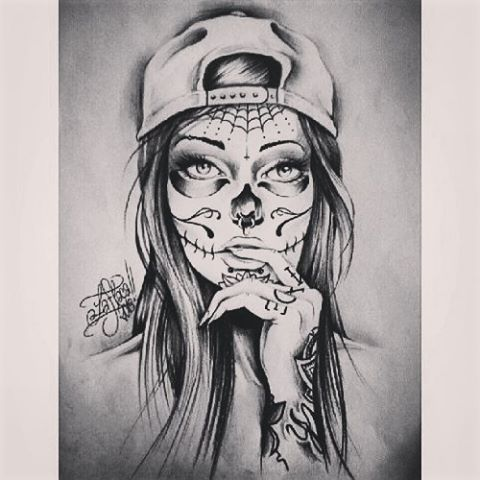 Hot Catrina Girl Face Tattoo Design By Grey Ink