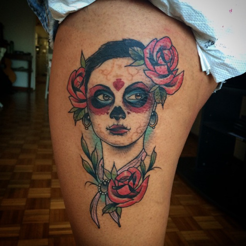 Hot Catrina Girl Face With Red Roses Tattoo