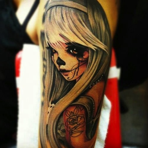 Hot Crying Catrina Girl Tattoo Of Face On Sleeve