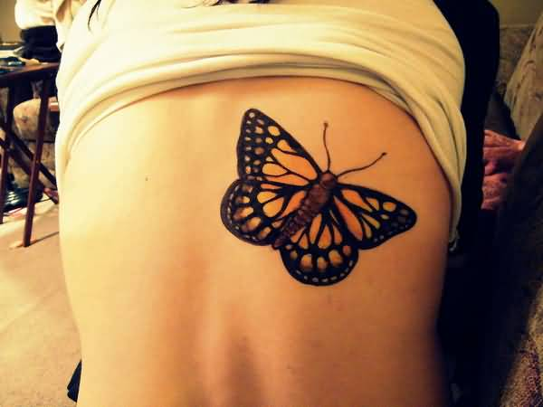 Hot Girl Back Nice One Monarch Butterfly Tattoo For Girl