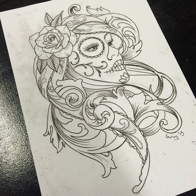 Hot Girl Catrina Face With Beautiful Rose Flower Tattoo