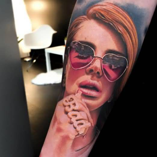 Hot Girl Face Lower Arm Tattoo Design By Levi Barnett