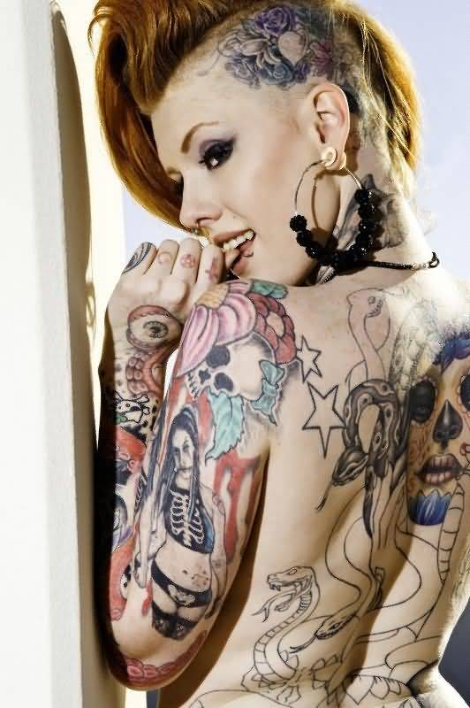 Hot Girl Show Amazing Extreme Tattoo