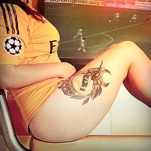 Hot Girl Show Her Nice Real Madrid Logo Tattoo On Thigh