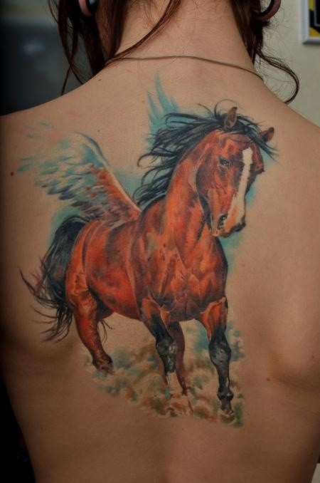 Hot Girl Show Nice And Awesome Pegasus Tattoo Design Idea