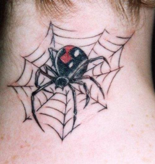 Hot Girl Show Nice Black Widow On Spider Web Tattoo On Nope