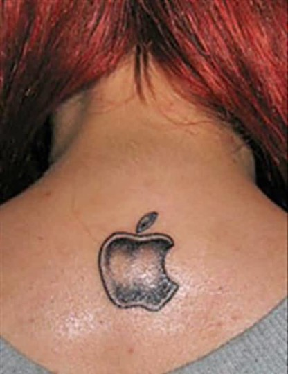 Hot Girl Show Simple Look Apple Logo Tattoo