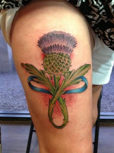 Hot Girl Show Simple Scottish Thistle Tattoo On Right Thigh