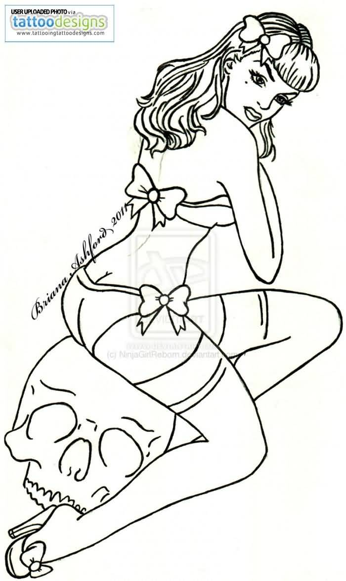 Hot Pin Up Girl sit On White Skull Drawing Tattoo