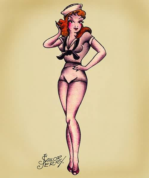 Hot Pin Up Sailor Girl Tattoo Design Idea Stencil