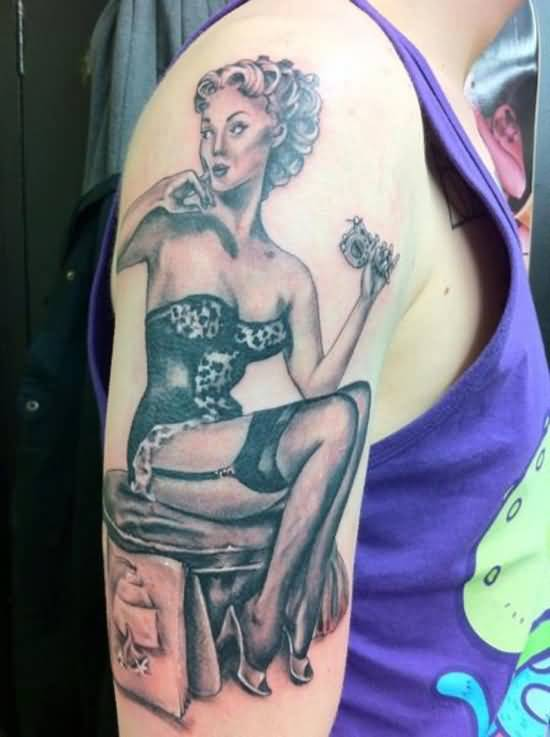 Hot Pin Up Sitting Sir Tattoo On Men Shoulder