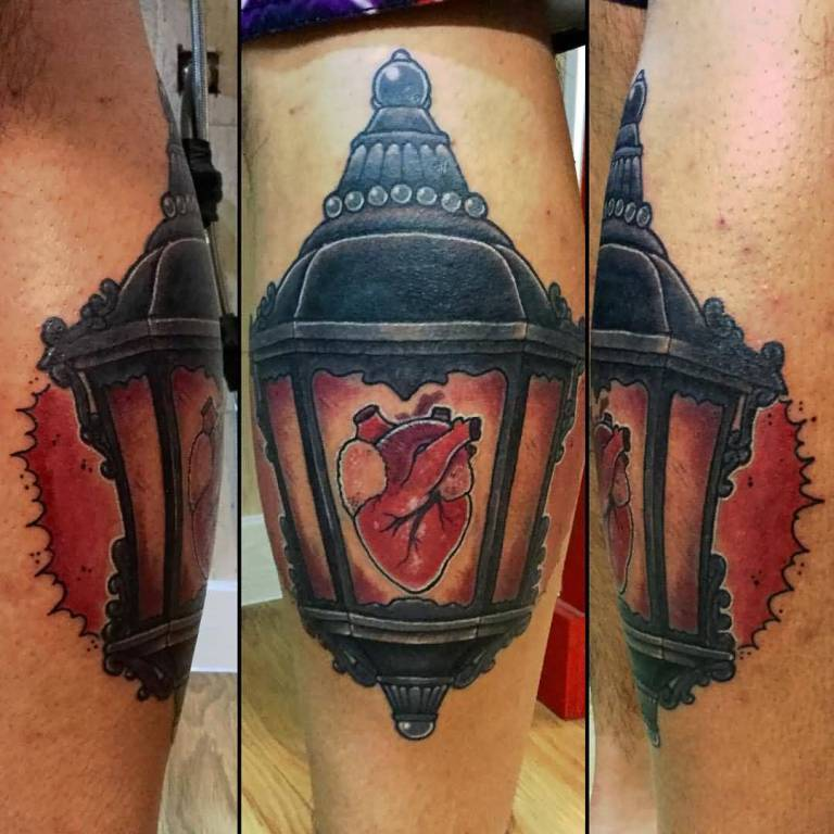 Human Heart Lantern Tattoo Design Idea