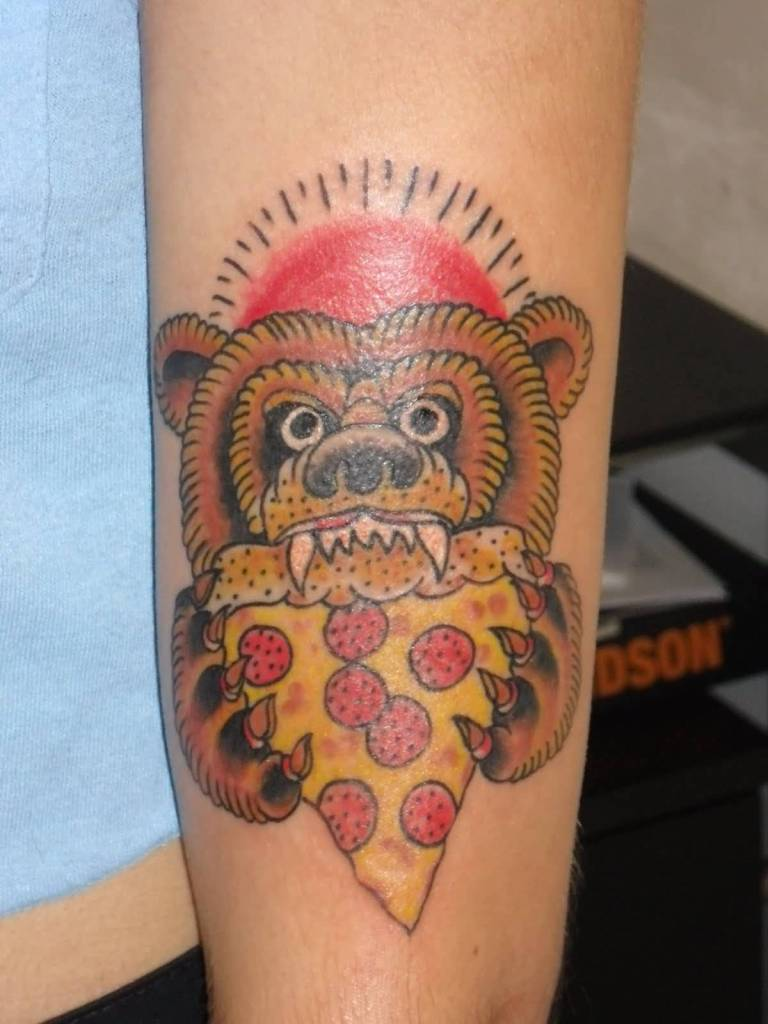 Hungr Bear Eating Pizza Tattoo