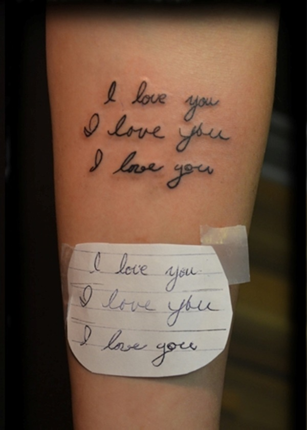 I Love You Tattoo With Stencil