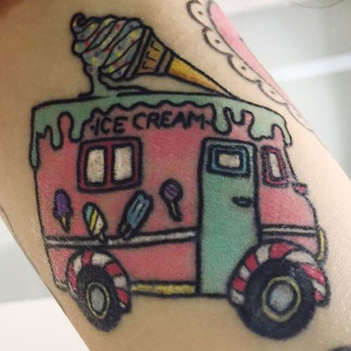 Ice Cream Van And Cup Tattoo