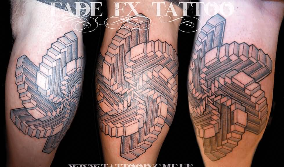 Illustion Of Nice And Simple Escher Stairs Tattoo