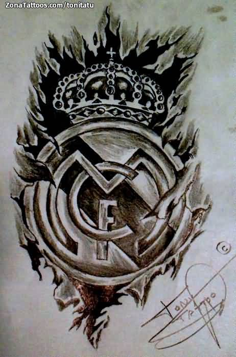 Impressive Cool Ripped Skin Real Madrid Logo Tattoo Design Stencil