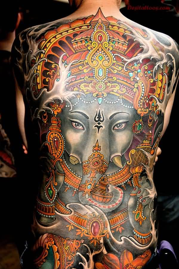 Indian Full Back Awesome And Religious Extreme Gangesha Face Tattoo