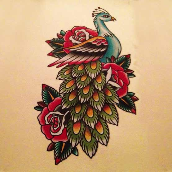 Although made ​​in the style of old school peacock tattoo designs but they are still beautiful if seen. A beautiful design will still be made beautiful with any style.