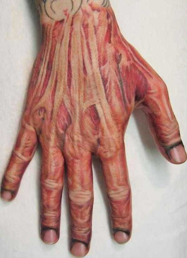 Inner Muscles Tattoo On Hand