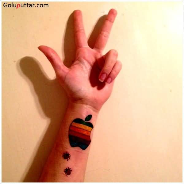 Insects With Colorful Apple Logo Tattoo Design Idea On Wrist