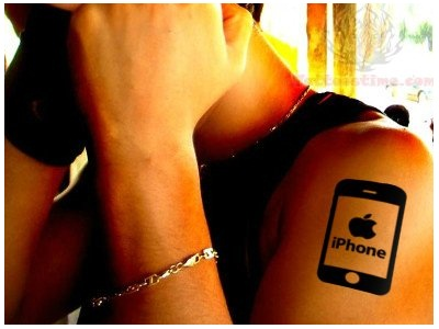Iphone Apple Logo Tattoo Design On Men Shoulder