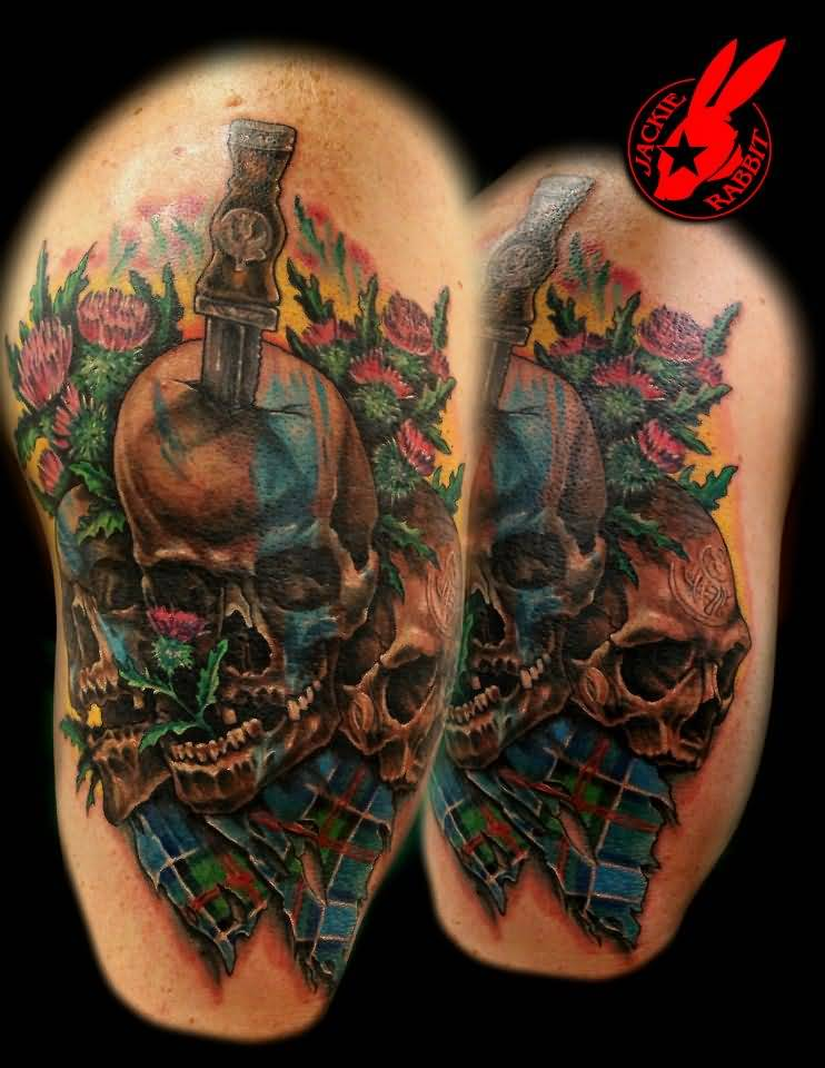 Jackie Rabbit Design A Scottish Tartan And Skull Dagger Tattoo