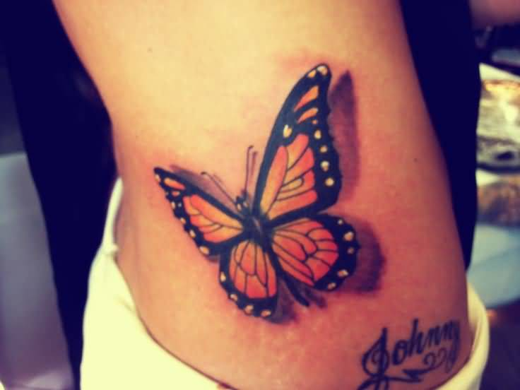 Johnny Name With Monarch Butterfly Tattoo On Hip
