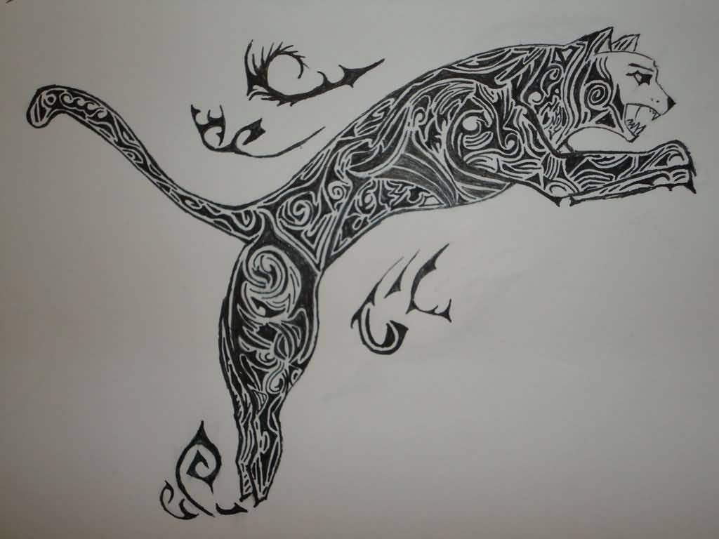 Jumping Traditional Puma Tattoo Design