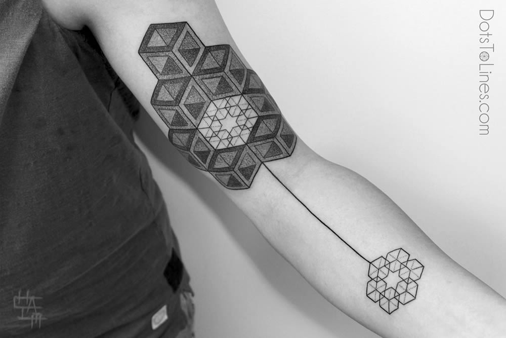 Kenji Design A Amazing Escher Cubes Tattoo On Sleeve