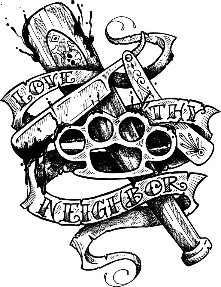Knuckle Duster Gangsta And Love Banner Tattoo