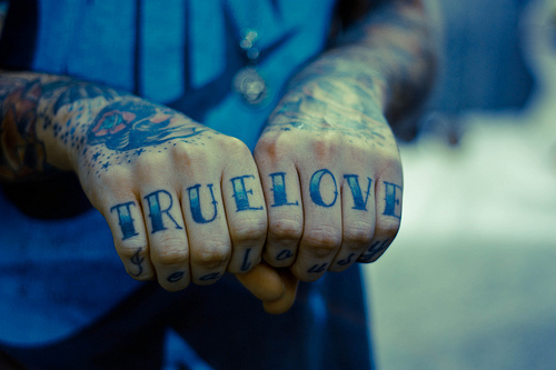 Knuckle Finger True Love Tattoo