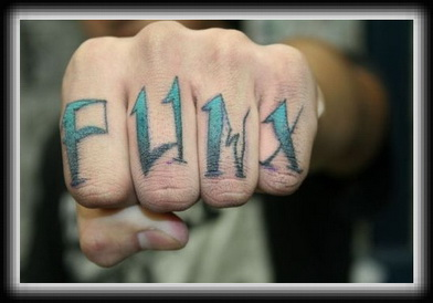 Knuckle Punk Text Tattoo Design