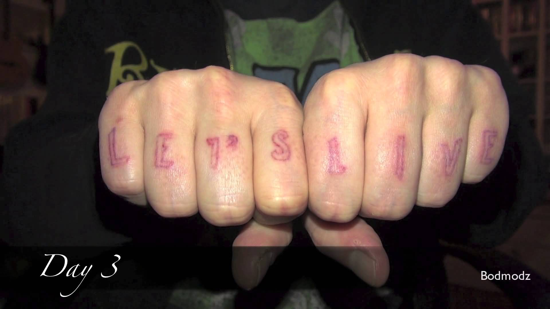 Knuckle Simple Scarification Lettersd Tattoo