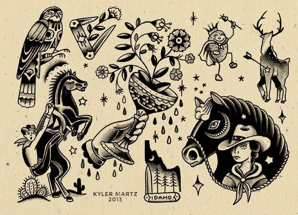 Kyler Martz Design A Amazing Collection Of Old School Tattoo