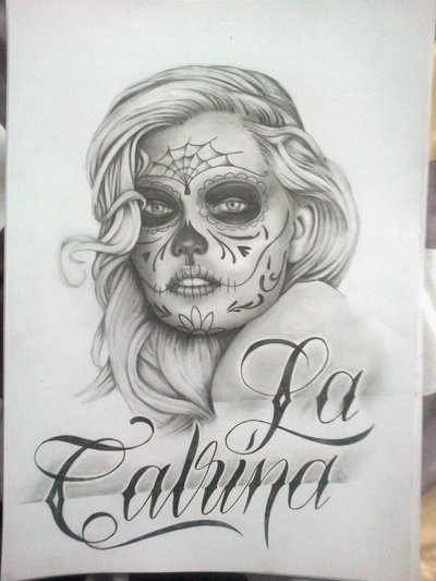 La Catrina Girl Stencil Tattoo Design On Sheet