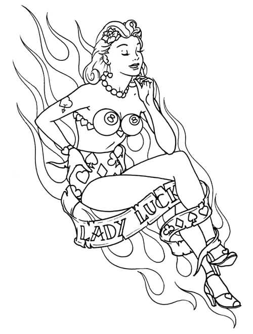 Lady Luck Pool Pin Up Girl Tattoo Design