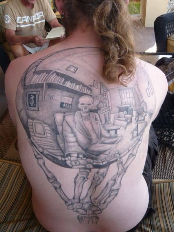 Large-Escher-Reflection-Tattoo-On-Full-Back