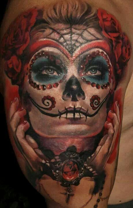 Latino Awesome Catrina Girl With Beautiful Roses Tattoo