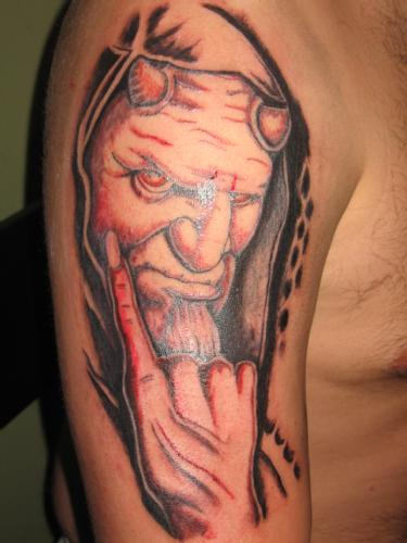 Latino Devil Tattoo On Shoulder For Men