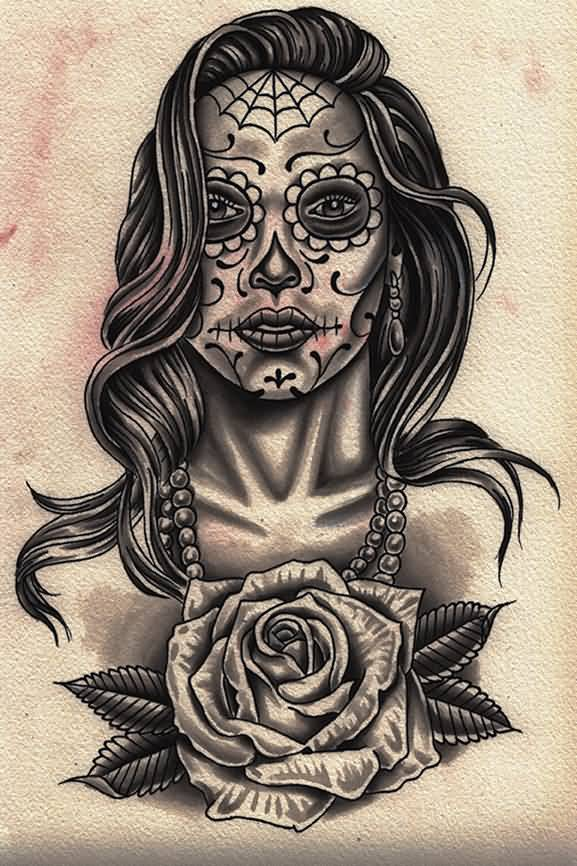 Latino Girl Face And Rose Flower Tattoo