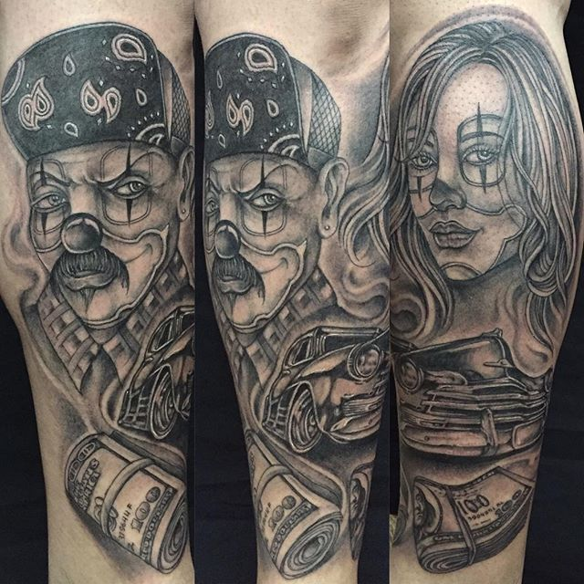 Latino Men And Girl Face Gangsta Tattoo