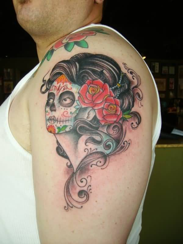 Latino Pin Up Girl Face With Red Roses Tattoo On Shoulder